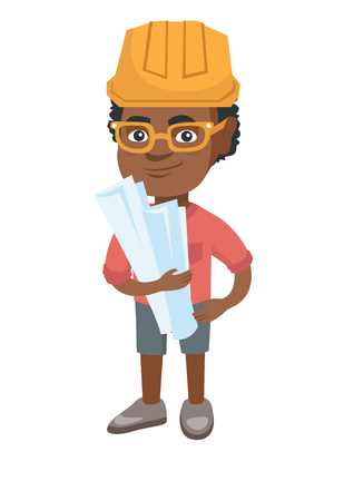 Little african engineer boy wearing hard hat and holding paper plans in hands. Smiling engineer boy in helmet holding blueprints. Vector sketch cartoon illustration isolated on white background.