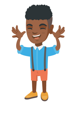 Funny african-american boy making a grimace and playing with his hands. Happy little boy teasing with hands. Vector sketch cartoon illustration isolated on white background.