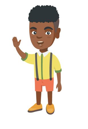 African-american little boy waving his hand. Cheerful boy making greeting gesture - waving hand. Vector sketch cartoon illustration isolated on white background.