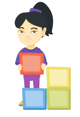Little asian girl playing with clourful cubes and having fun. Smiling girl playing with toy building cubes. Vector sketch cartoon illustration isolated on white background.