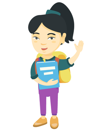 Happy asian schoolgirl holding a book and waving his hand. Full length of smiling schoolgirl making greeting gesture - waving hand. Vector sketch cartoon illustration isolated on white background.