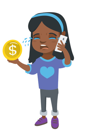 African girl crying while talking on smartphone and holding gold coin in hand. Little business woman with smartphone and golden coin. Vector sketch cartoon illustration isolated on white background Ilustração