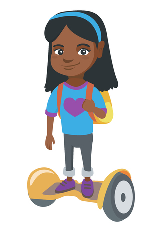Joyful african schoolgirl riding on self-balancing electric scooter. Happy schoolgirl with backpack riding on gyroscooter to school. Vector sketch cartoon illustration isolated on white background. Stock Illustratie