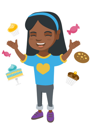 Happy little african girl standing among lots of sweets. Full length of cheerful girl surrounded by cake, candies, cupcakes, cookie. Vector sketch cartoon illustration isolated on white background. Illustration