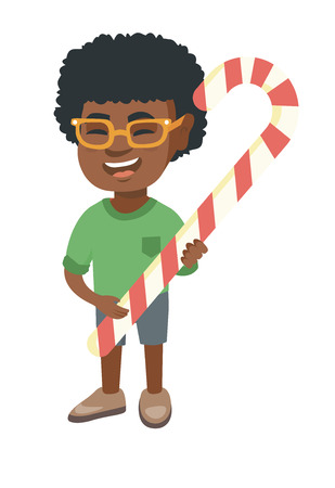 Happy african-american little boy holding a christmas candy cane. Full length of cheerful boy eating christmas candy cane. Vector sketch cartoon illustration isolated on white background. Ilustrace