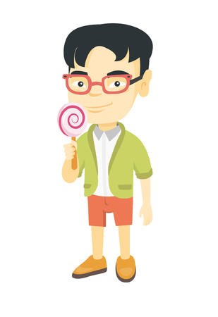 Little asian boy holding a lollipop candy. Full length of young boy eating a lollipop candy. Vector sketch cartoon illustration isolated on white background. Ilustração