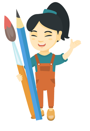 Smiling asian girl holding big pencil and paintbrush. Full length of happy laughing girl with huge pencil and paintbrush. Vector sketch cartoon illustration isolated on white background.