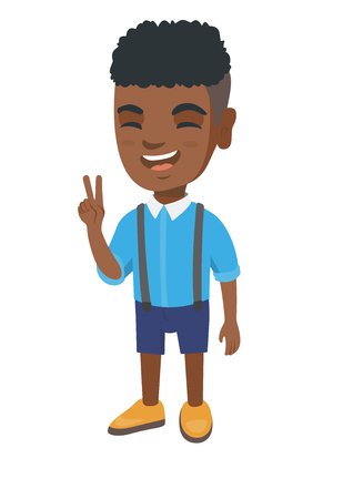 African-american boy showing victory gesture. Little boy showing victory sign with two fingers. Vector sketch cartoon illustration isolated on white background.