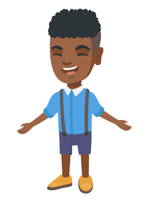 African-american cheerful boy laughing. Happy little boy laughing with outstretched arms. Vector sketch cartoon illustration isolated on white background. Illustration