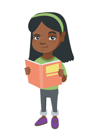 Little african-american schoolgirl reading a book. Smiling schoolgirl holding a story book in hands. Concept of education. Vector sketch cartoon illustration isolated on white background. Vectores