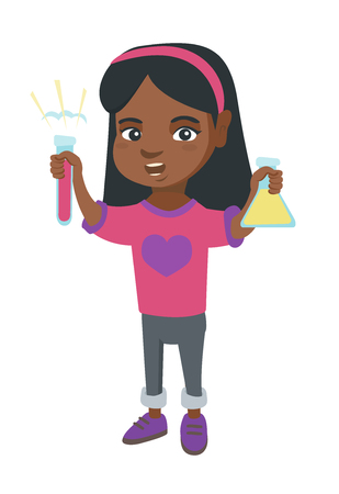 Little african girl holding test tube and beaker with chemical reagents. Full length of happy girl with flask and test tube in hands. Vector sketch cartoon illustration isolated on white background.
