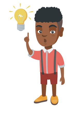 African smart little boy having a bright idea. Clever boy with open mouth pointing forefinger at the glowing lightbulb. Idea concept. Vector sketch cartoon illustration isolated on white background.