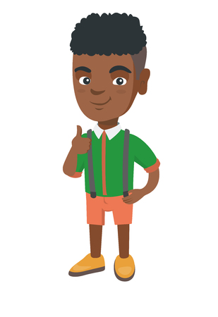 African-american little boy giving thumb up. Full length of smiling boy with thumb up. Cheerful boy showing thumb up. Vector sketch cartoon illustration isolated on white background.