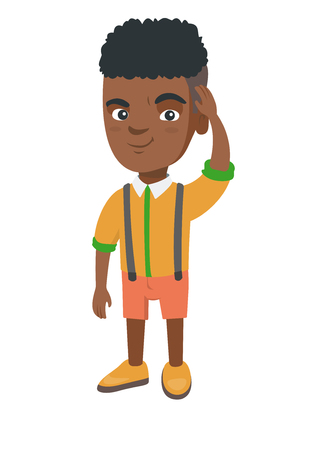 Confused african-american little boy scratching head. Thoughtful boy scratching his head. Puzzled boy scratching his head. Vector sketch cartoon illustration isolated on white background. Banco de Imagens - 95975405