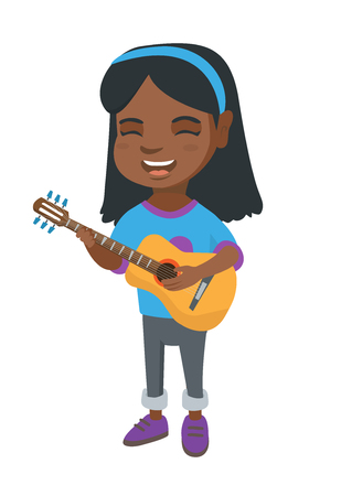 African-american cheerful girl singing and playing the acoustic guitar. Full length of happy girl with a guitar. Vector sketch cartoon illustration isolated on white background.