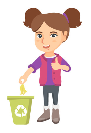 Caucasian girl throwing banana peel in recycling bin. Girl putting banana peel in trash bin with recycling sign and giving thumb up. Vectores