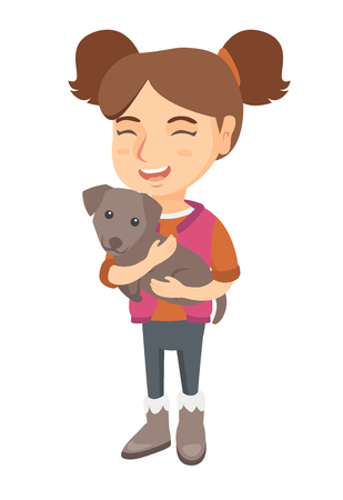 Caucasian happy smiling girl holding a small dog. Full length of cheerful little girl with a dog in her hands. Vector sketch cartoon illustration isolated on white background.