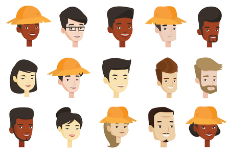 Portraits of young and adult men and women. Avatars of Caucasian white, African-american and Asian people in straw hats and eyeglasses. 向量圖像