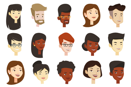 Portraits of young glad smiling men and women. Avatars of cheerful Caucasian white, African-american and Asian people in eyeglasses.