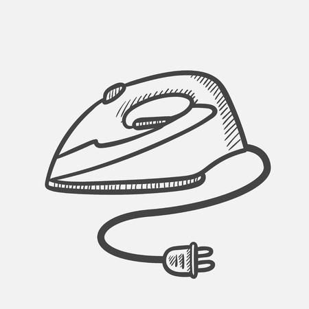 Vector hand drawn Modern electric iron outline doodle icon. Modern electric iron sketch illustration for print, web, mobile and infographics isolated on white background.
