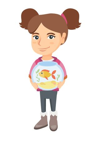 Caucasian girl holding aquarium with goldfish. Full length of smiling little girl holding bowl with pet fish. Vector sketch cartoon illustration isolated on white background.