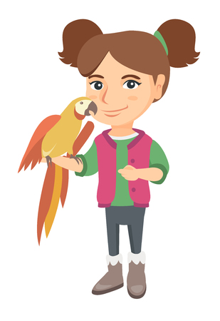 Caucasian smiling girl playing with her pet parrot. Full length of little girl holding parrot on her hand. Vector sketch cartoon illustration isolated on white background. Vectores