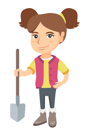 Caucasian smiling girl holding a shovel. Full length of little girl farmer in jeans standing with a shovel. Vector sketch cartoon illustration isolated on white background.