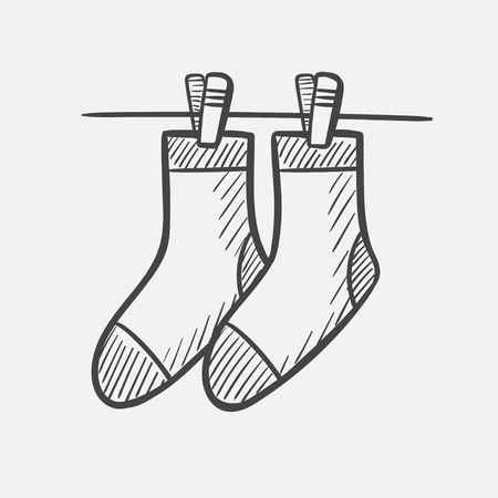 Vector hand drawn socks hanging on the clothesline outline doodle icon. Socks hanging on the clothesline sketch illustration for print, web, mobile and infographics isolated on white background. Vetores
