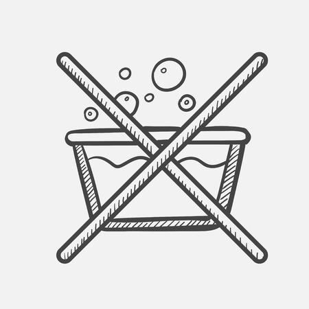 Vector hand drawn Do not washing label outline doodle icon. Do not washing label sketch illustration for print, web, mobile and infographics isolated on white background.