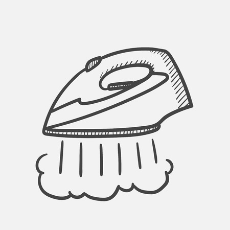 Vector hand drawn Modern steam iron outline doodle icon. Modern steam iron sketch illustration for print, web, mobile and infographics isolated on white background. Illustration