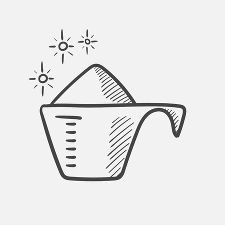 Vector hand drawn washing powder in a measuring cup outline doodle icon. Washing powder in a measuring cup sketch illustration for print, web, mobile and infographics isolated on white background. Stock Illustratie