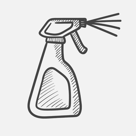 Vector hand drawn Cleaning spray bottle outline doodle icon. Cleaning spray bottle sketch illustration for print, web, mobile and infographics isolated on white background.