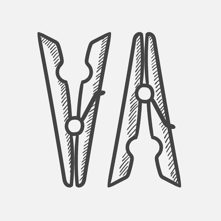 Vector hand drawn Clothespins outline doodle icon. Clothespins sketch illustration for print, web, mobile and infographics isolated on white background. Иллюстрация
