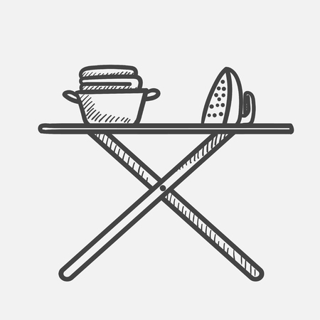 Vector hand drawn Iron and basket with clothes on ironing board outline doodle icon. Ironing sketch illustration for print, web, mobile and infographics isolated on white background. Illustration