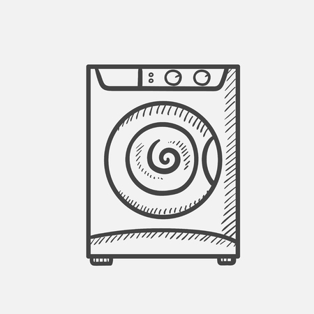 Vector hand drawn Washing machine outline doodle icon. Washing machine sketch illustration for print, web, mobile and infographics isolated on white background. Stock Illustratie