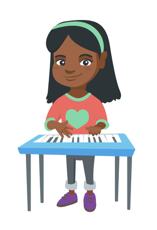 Little girl playing the piano. Full length of smiling girl standing near the piano vector sketch cartoon illustration isolated on white background. Illustration
