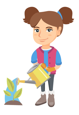 Caucasian girl wearing garden gloves and watering plant with a watering can. Little girl gardening and watering a plant. Vector sketch cartoon illustration isolated on white background. Illustration