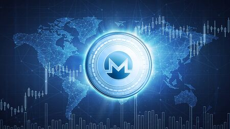 Monero cash cryptocurrency coin on hud background with bull trading stock chart and polygon world map. Blockchain technology network token grows in price on stock market concept.