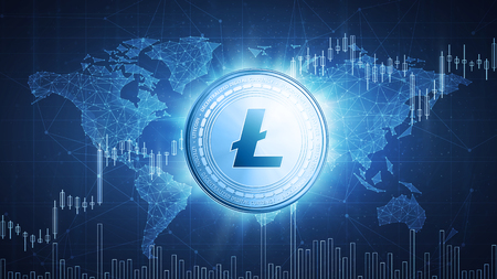 Litecoin cryptocurrency coin on hud background with bull trading stock chart and polygon world map. Blockchain technology network token grows in price on stock market concept. Stock Photo