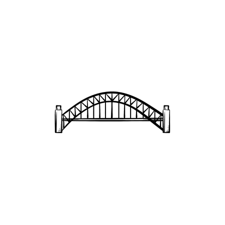 Bridge hand drawn outline doodle icon. Vector sketch illustration of modern bridge architecture for print, web, mobile and infographics isolated on white background.