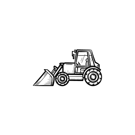 Buldozer with moving backhoe hand drawn outline doodle icon. Buldozer vector sketch illustration for print, web, mobile isolated on white background. Construction industry and machinery concept.