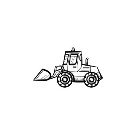 Buldozer with moving backhoe hand drawn outline doodle icon. Excavator vector sketch illustration for print, web, mobile isolated on white background. Construction industry and machinery concept.
