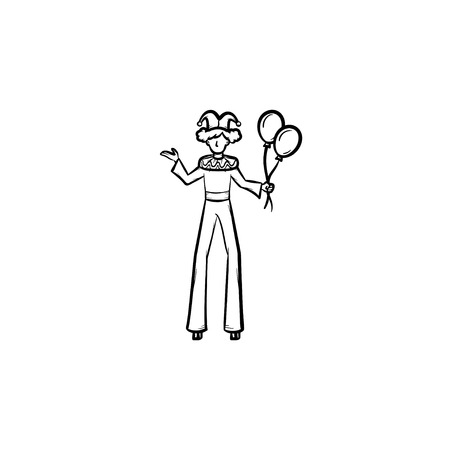 Clown on stilts hand drawn outline doodle icon. Circus performer on walkers vector sketch illustration for print, web, mobile and infographics isolated on white background. Ilustração