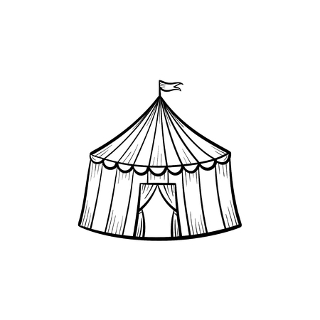 Vector hand drawn circus tent outline doodle icon. Marquee sketch illustration for print, web, mobile and infographics isolated on white background.