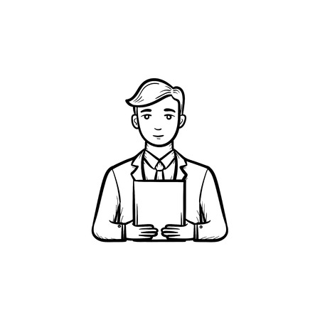 Man holding electronic tablet hand drawn outline doodle vector icon. Sketch illustration of electronic device for print, web, mobile and infographics isolated on white background. Standard-Bild - 96443373