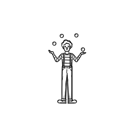 Clown having juggle skills hand drawn outline doodle icon. Juggler vector sketch illustration for print, web, mobile and infographics isolated on white background. Stock Illustratie