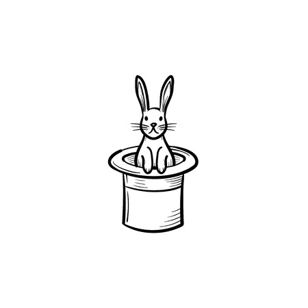 Rabbit in a magician hat hand drawn outline doodle icon. Cylinder hat with rabbit vector sketch illustration for print, web, mobile and infographics isolated on white background. Illustration