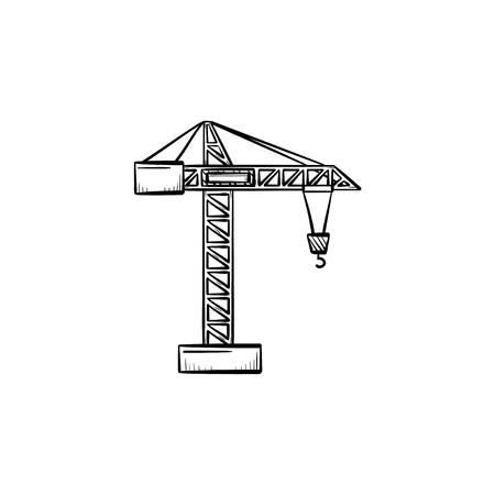 Construction crane hand drawn outline doodle icon
