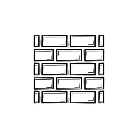 Brick wall hand drawn outline doodle icon. Construction of wall from brick vector sketch illustration for print, web, mobile and infographics isolated on white background.