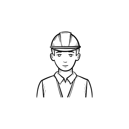 Engineer in hard hat hand drawn outline doodle icon. Builder in hardhat for safe work vector sketch illustration for print, web, mobile and infographics isolated on white background.